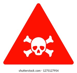 Skull toxic warning vector icon symbol. Flat pictogram is isolated on a white background. Skull toxic warning pictogram designed with simple style.