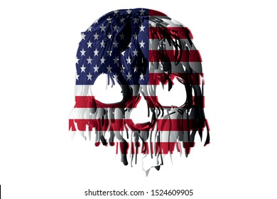 skull trending with a beautiful white background, skull american flag for t-shirt screen printing