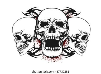 skull with tribal elements