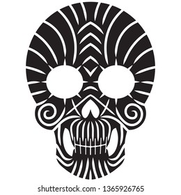 Skull / Tribal / Tattoo / Black isolated on white