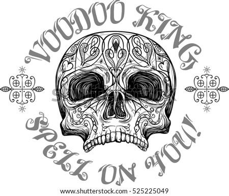 Skull Tribal Tattoo Symbols Vector Illustration Stock Vector