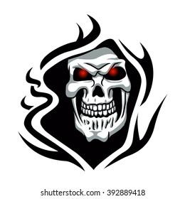 Skull tribal tattoo.grim reaper tattoo