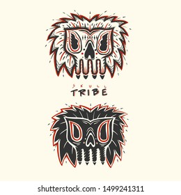 Skull tribe logo design,vector illustration