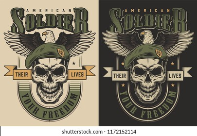 Skull t-shirt print concept witn eagle. Vector illustration
