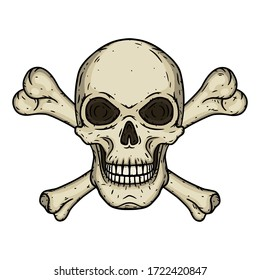 Skull with two crossed bones isolated on white background. Vector illustration in hand drawn style