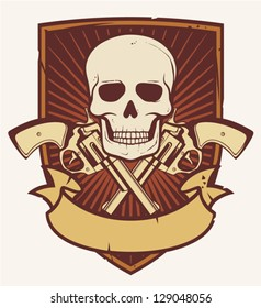 skull and two crossed revolvers emblem