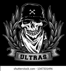 skull ultras soccer fans. hooligan vector