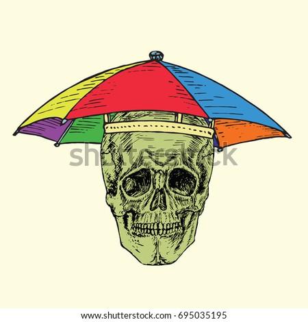 3ff0d2c732e93 Skull Umbrella Hat All Colors Rainbow Stock Vector (Royalty Free ...