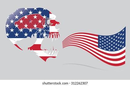 skull and  united nation flag. vector design.