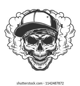 Skull vaper concept in the cap. Vector illustration