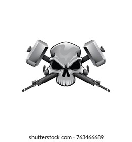 Skull vector with guns and hammers color drawing head
