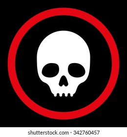 Skull vector icon. Style is bicolor flat rounded symbol, red and white colors, rounded angles, black background.