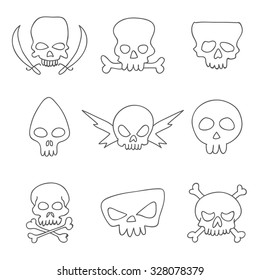 Skull. Vector icons, hand-drawn.