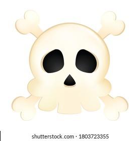 Skull vector illustration on white background.Skull emoticon.Bones vector. 3D skull icon emoji