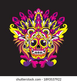 skull vector image for t-shirt and tattoo with pop art color style.