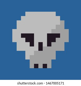 Skull vector, isolated head of dead person icon in flat style, grey bones pixel art graphics of games, pixelated spooky item symbol of danger and horror cartoon