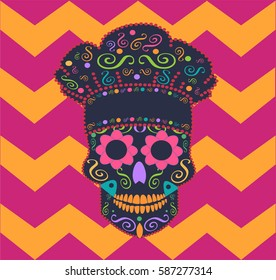 Skull vector kitchen chef with zig-zag background pink color