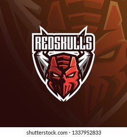 skull vector mascot logo design with modern illustration concept style for badge, emblem and tshirt printing. angry skull illustration for sport and esport team.