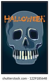 Skull Vector with piano key teeth