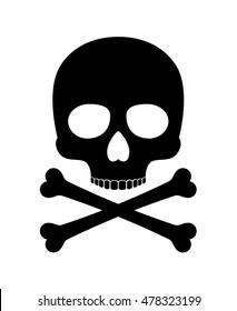 Skull vector silhouette. Crossbones skull death icon isolated on white background