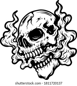 skull vector smoke with cloud