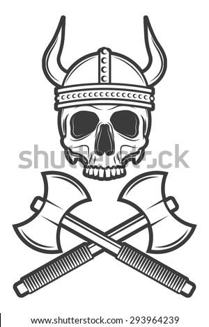 Skull Viking Helmet Axes Stock Vector Royalty Free 293964239