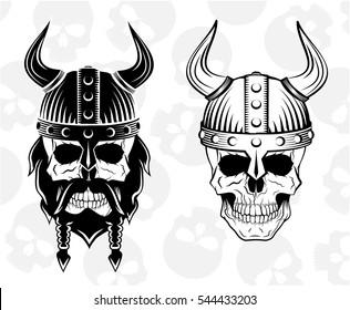 skull in a viking helmet set, vector illustration