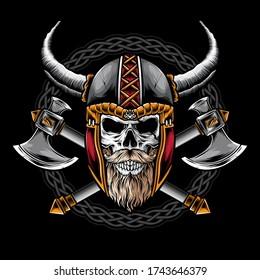 skull with viking helmet vector logo