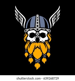 1e0a04a91e40 skull of viking with wing in helmet