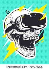 Skull in Virtual Reality Glasses. Pop art illustration of skull with virtual reality device. Open mouth experiencing emotions. Dead person in virtual reality glasses. Conceptual vector art.