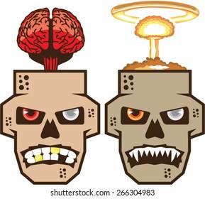 Skull w brain n nuclear blast vector
