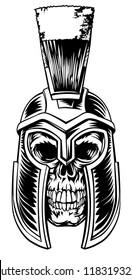 A skull warrior in a Spartan gladiator helmet