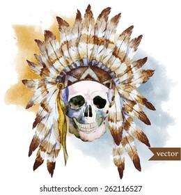 skull, watercolor, blur, war bonnet,  boho