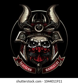 Skull wearing classic samurai helmet in hand drawing style