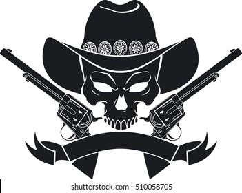 skull wearing cowboy hat, guns and banner