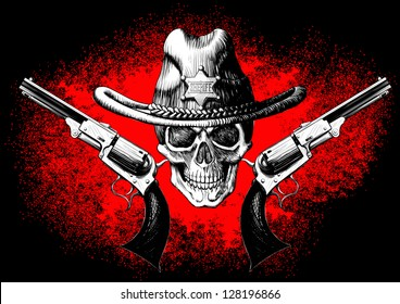 skull wearing a cowboy hat with two guns on the black and red background