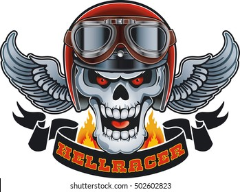 "skull wearing crash helmet and goggles, banner with text ""hellracer"""