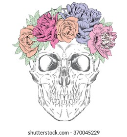 Skull wearing a crown of flowers. Hipster. Vector illustration for greeting card, poster, or print on clothes.