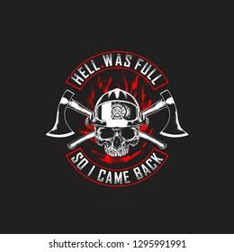 skull wearing fire fighter helmet and cross axe t shirt ilustration black and white