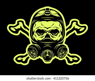 Skull Wearing A Gas Mask And Crossbones On Dark Background