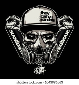 skull wearing gas mask for graffiti logo