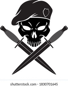 skull wearing military beret with crossed combat knifes