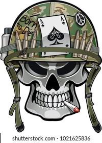 skull wearing military helmet