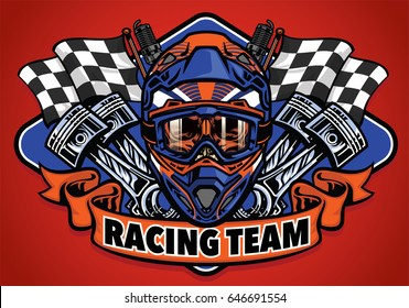 skull wearing motocross helmet racing team