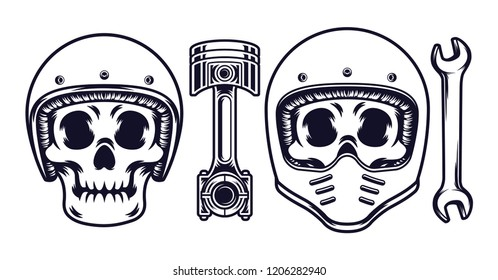 skull wearing a motorcycle helmet with a white background. vector illustration