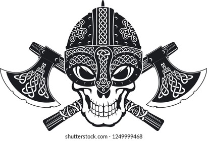 skull wearing viking helmet over crossed battle axes