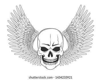 skull with wing drawn in black and white tattoo icon vector illustration graphic design