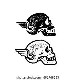 skull with wing vector illustration