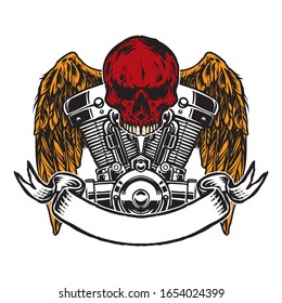 skull with wings and motorcycle machine head and ribbon art illustration