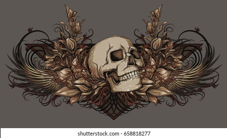 skull with wings and nature patterns